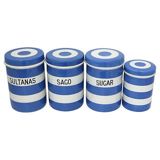 Vintage English Cornishware Kitchen Canisters, S/4 Preview
