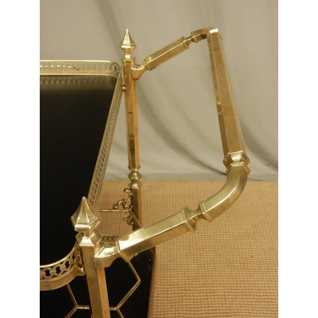 Vintage French Brass Bar Cart For Sale In New Orleans - Image 6 of 8