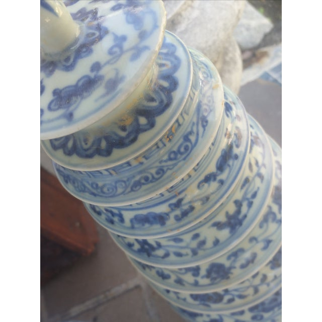 Chinese Blue & White Pagoda Temple Vases - A Pair - Image 7 of 7