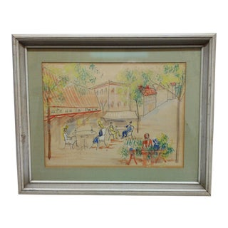 "1950s Vintage ""Cafe De La Paix"" Framed & Matted Hand-Colored Drawing For Sale"