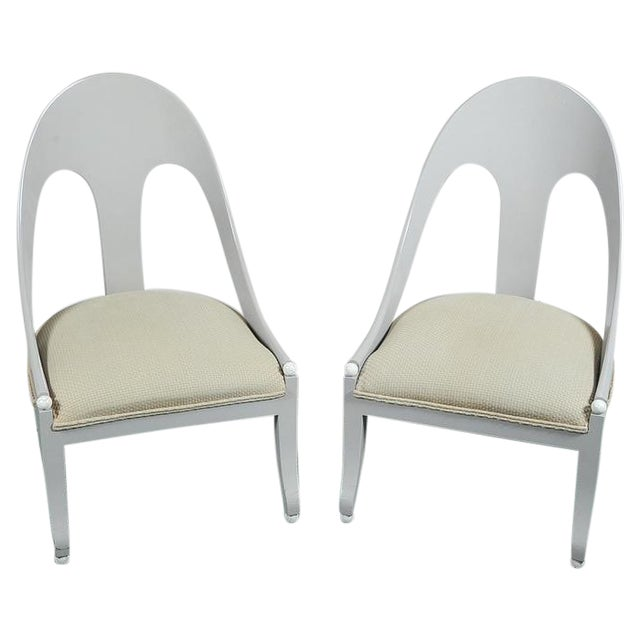 Custom Contemporary Grey Arched Chairs - Pair - Image 1 of 8