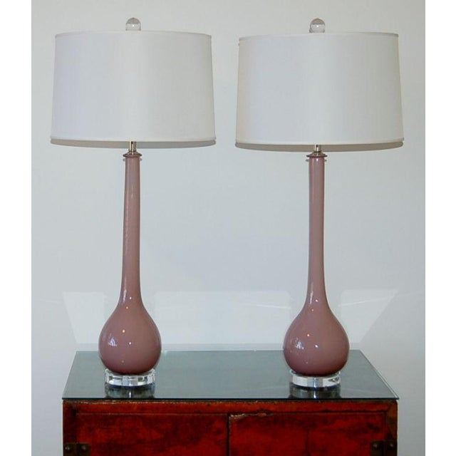 1960s Vintage Murano Glass Long Neck Table Lamps Lavender For Sale - Image 5 of 8