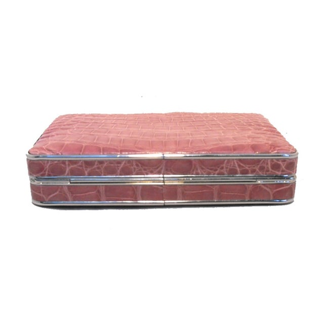 Early 21st Century Judith Leiber Pink Alligator Box Clutch With Crystal Closure For Sale - Image 5 of 9