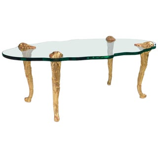 Maison Charles Style Glass and Giltwood Coffee Table, France, circa 1960s For Sale