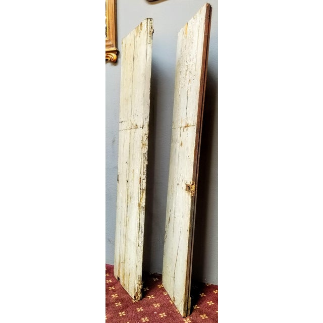 French French Oak Haussmann-Paris Era Panel Doors With Cream Painted Backs - a Pair #1 For Sale - Image 3 of 6