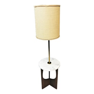 Mid Century Modern Sculptural Wood Floor Lamp With Marble Table For Sale