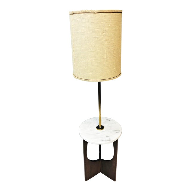 Mid Century Modern Sculptural Wood Floor Lamp With Marble Table