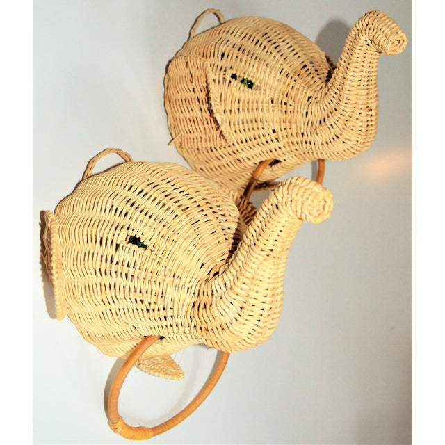 Elephant Wall Mount Wicker Towel Rings - a Pair For Sale - Image 10 of 12