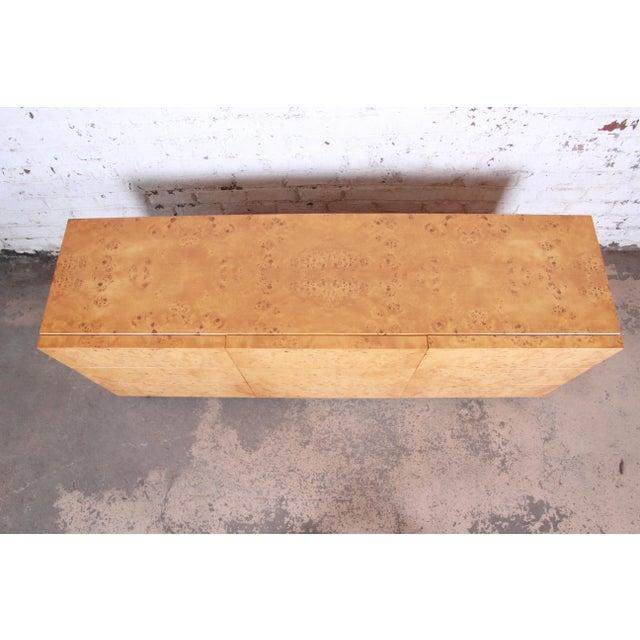 Milo Baughman Milo Baughman Burled Olive Wood Long Dresser or Credenza For Sale - Image 4 of 12