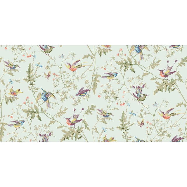 English Duck Egg Blue Background Cotton Fabric- Price Per Yard For Sale - Image 3 of 5