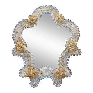 Mid-Century Italian Venetian Murano Vanity Table Mirror With Floral Etching For Sale