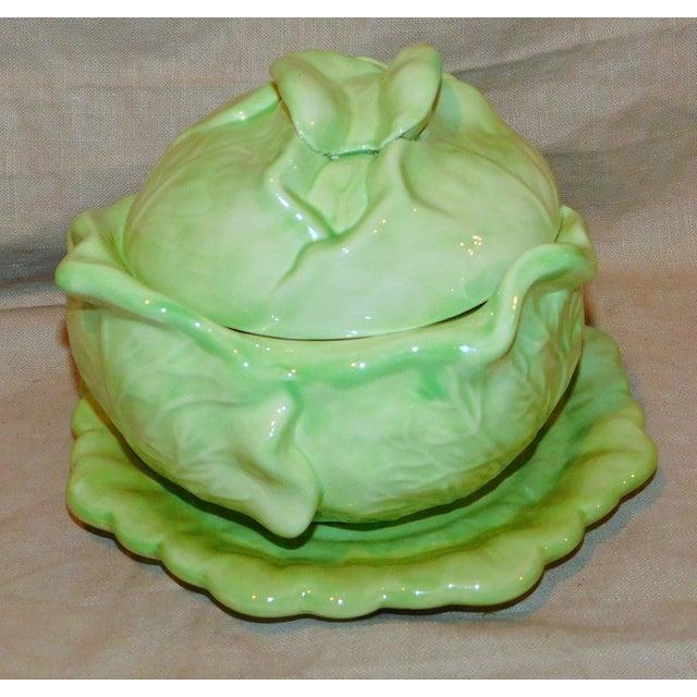 Vintage Ceramic Cabbage Vegetable Server For Sale - Image 4 of 8