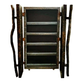 1970s Brutalist Repousse and Chasing Copper and Bronze Storage Cabinet For Sale