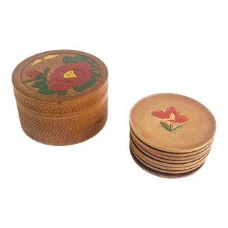 Vintage Wood Flower Coaster Set in Box For Sale
