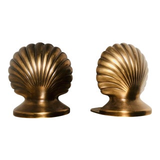 Brushed Brass Clam Shell Bookends - a Pair For Sale