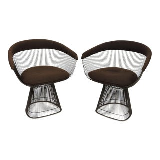 1980s Warren Platner for Knoll Bronze Wire Chairs - a Pair For Sale