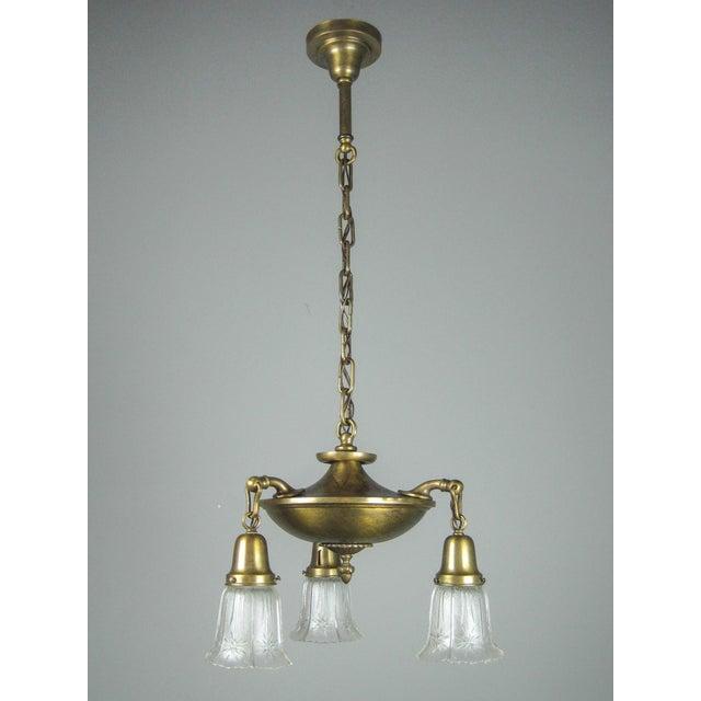 Original Arts & Crafts Pan Light Fixture (3-Light) - Image 2 of 8