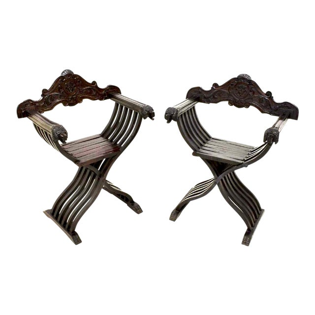 Italian Walnut Savonarola Curule Chairs With Loin Motif- a Pair For Sale
