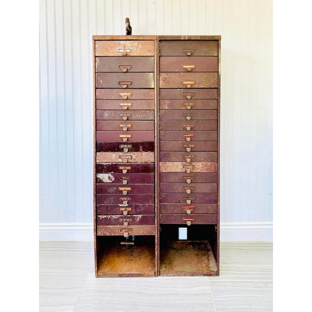 Industrial Industrial Metal Watchmaker/Jeweler Parts Cabinets - a Pair For Sale - Image 3 of 13