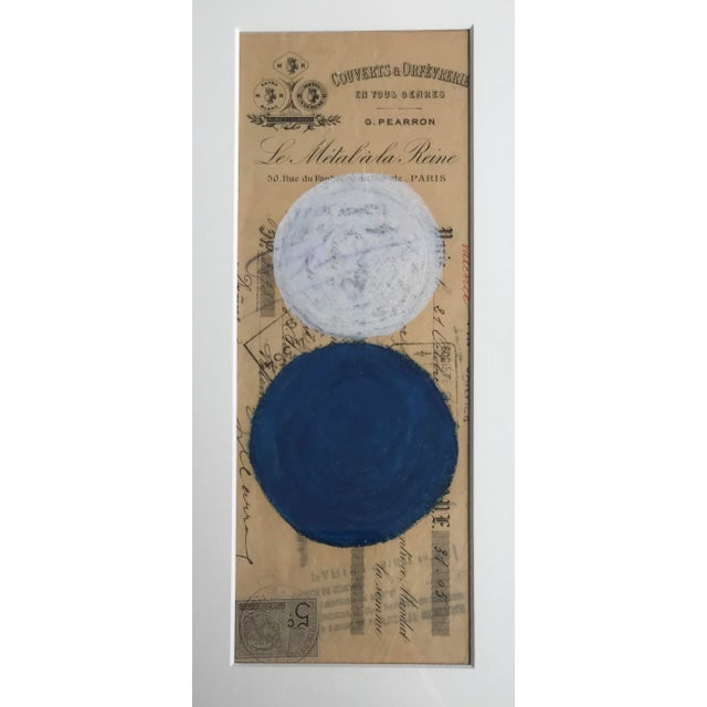 Abstract pastel on vintage French bank receipt from 1800s. Professionally framed in a bamboo style gold frame. Overall...
