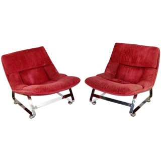 Mid Century Modern Chrome Steel Scoop Lounge Chairs - a Pair For Sale