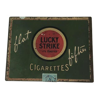 1940s Vintage Lucky Strike Cigarettes Box For Sale