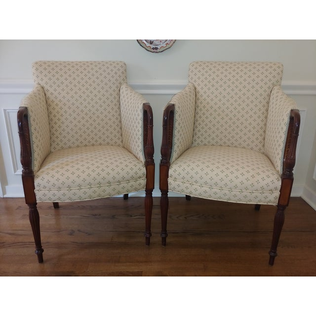 Antique White Council Furniture Pull Up Chairs Upholstered in Scalamandre - A Pair For Sale - Image 8 of 8
