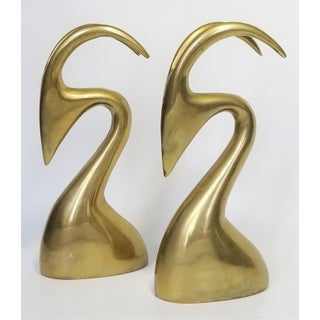 Brass Rams Bookends Sculptures A-Pair - Mid Century Modern Karl Springer Style Modernist Minimalist Cubist Palm Beach Chic Preview