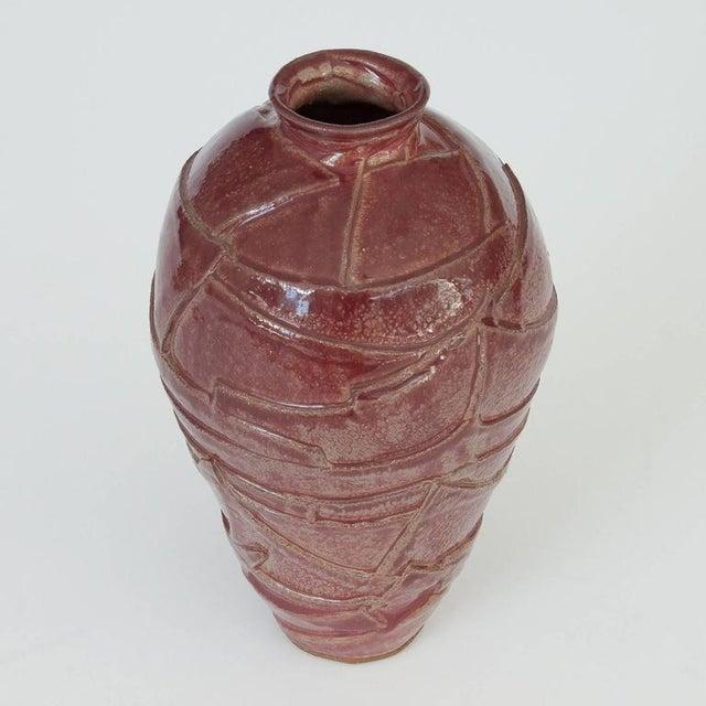 Layered Geometric Studio Pottery Vase For Sale - Image 4 of 10
