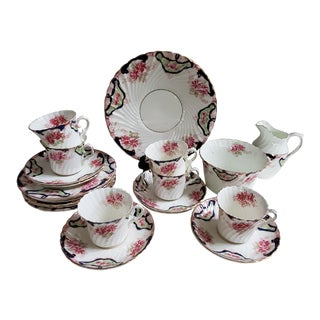 English Antique Cups Creamer Sugar Plates Platter C.1907 For Sale