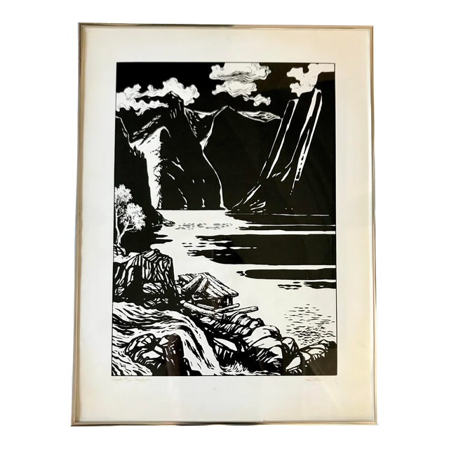 Vintage Black and White Norway Print For Sale