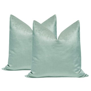 "22"" Seafoam Luxe Velvet Pillows - a Pair For Sale"