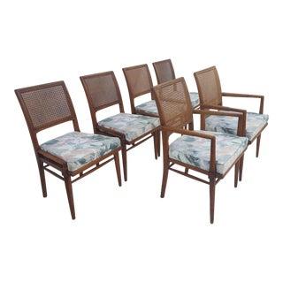 Mid-Century Modern Teak Wood & Cane Dining Chairs - Set of 6