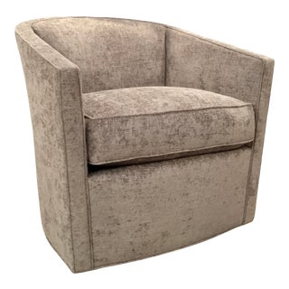 Pearson Modern Gray Chenille Swivel Club Chair For Sale