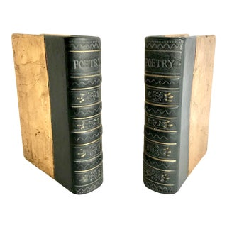 Ceramic Gilt Gold Poetry Bookends in Shape of Books For Sale