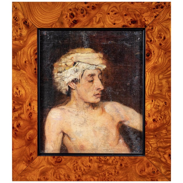 Portrait of a Man in Turban Oil Painting For Sale In Los Angeles - Image 6 of 6