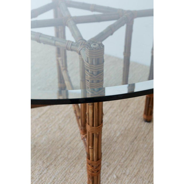 McGuire Organic Modern Bamboo Rattan Round Dining Table For Sale In San Francisco - Image 6 of 13