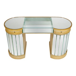 Deco Curved Mirrored Dressing Table For Sale