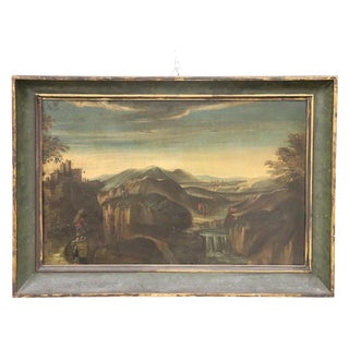 18th Century Italian Oil Painting on Canvas Landscape With Wayfarers With Frame For Sale
