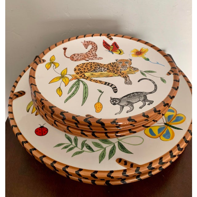 African Lynn Chase Jungle Jubilee Hand Painted Colorful Wildlife China Set - 12 Pieces For Sale - Image 3 of 11