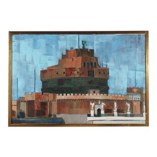 "Rip Matteson ""Rome"" Castel Sant'Angelo Oil Painting on Linen in Gold Frame, 1971 For Sale"
