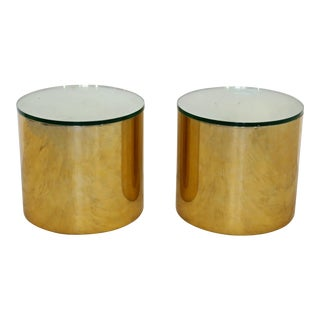 Mid Century Modern Pair Brass Round Drum Side Tables Paul Mayen Habitat 1970s