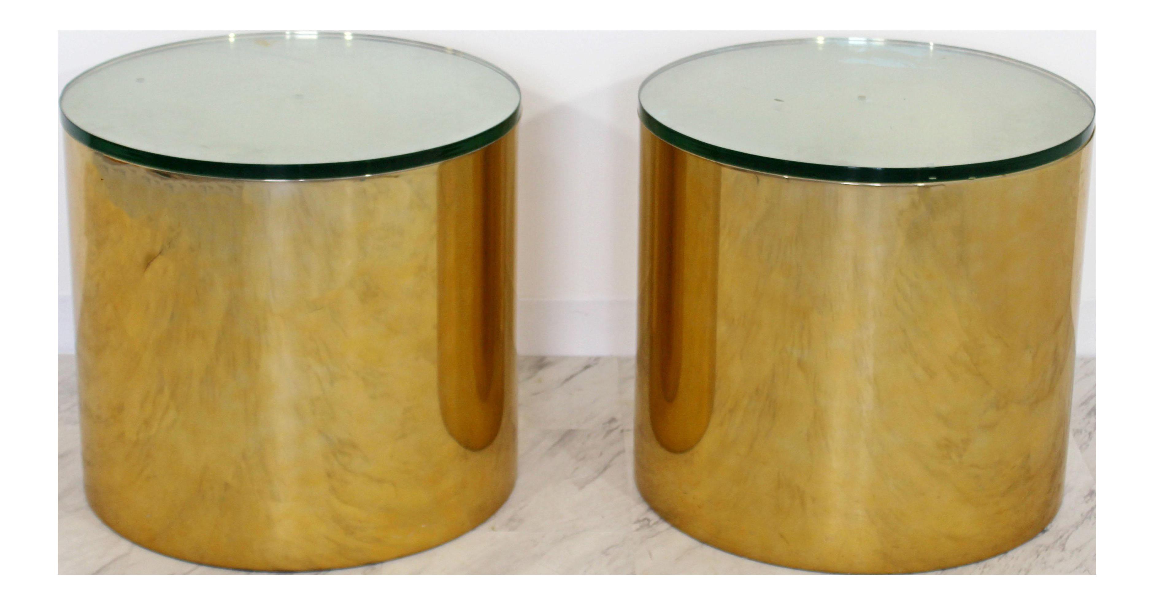 Mid Century Modern Pair Brass Round Drum Side Tables Paul Mayen Habitat  1970s