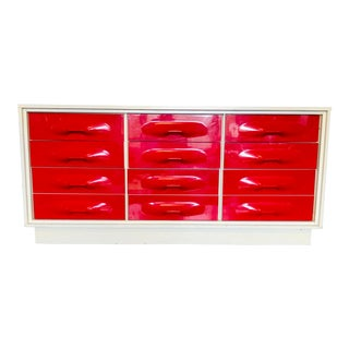 1970s Treco Space Age Pop Modern Red 9 Drawer Dresser For Sale