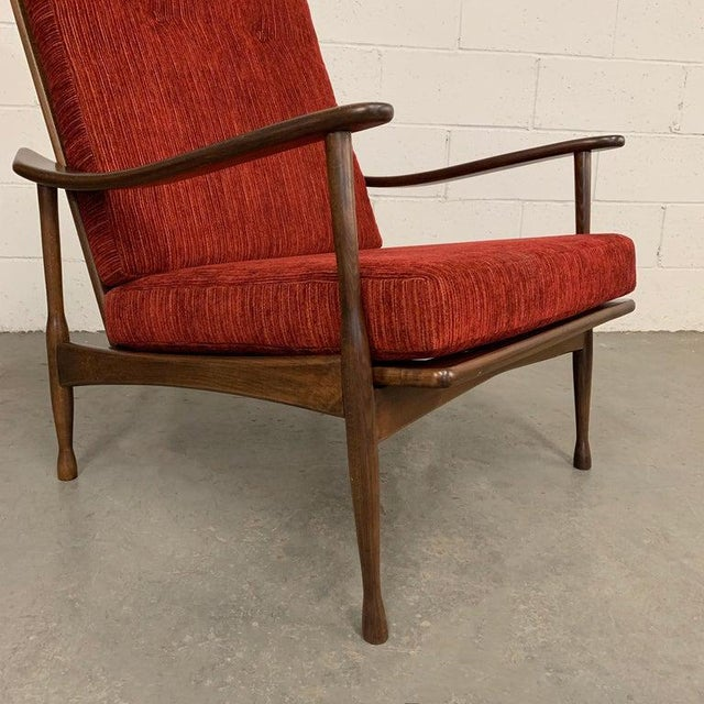 Fabric 1960s Vintage Danish Modern High Back Maple Lounge Chair For Sale - Image 7 of 8
