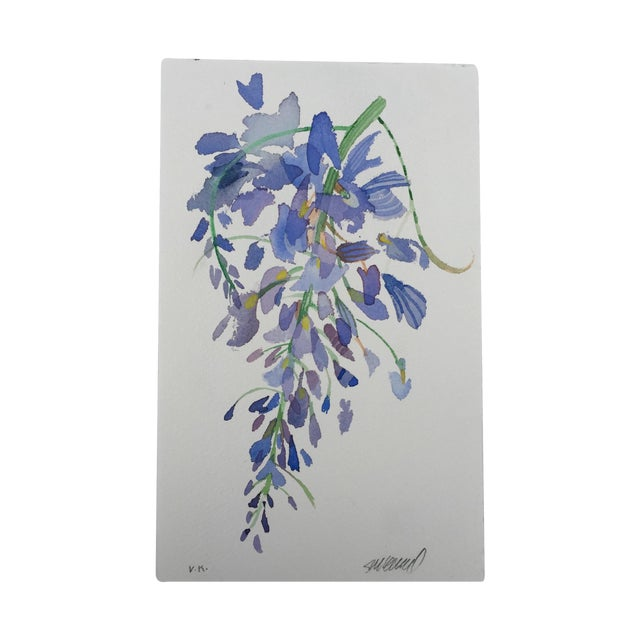 """Weeping Wisteria 1"" Original Watercolor Painting For Sale"