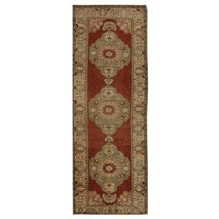 Vintage Turkish Oushak Rug - 3.8 x 11.4 For Sale