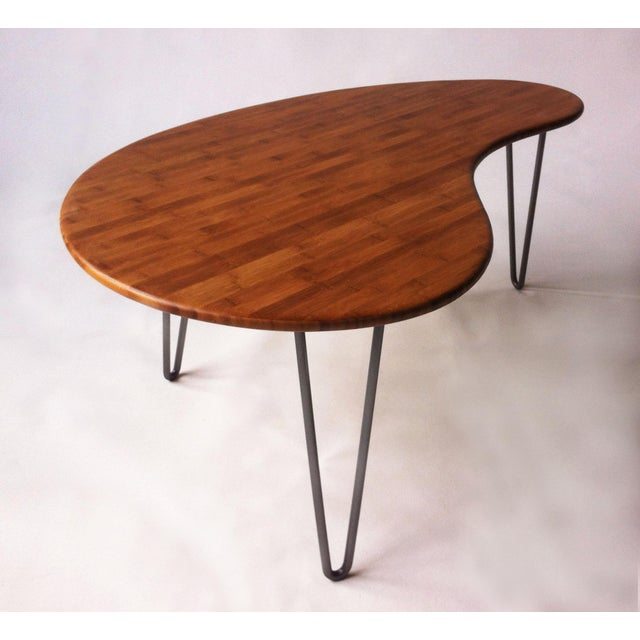 Mid-Century Style Kidney Bean Bamboo Coffee Table - Image 3 of 5