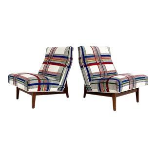 One of a Kind Jens Risom Walnut Slipper Chairs in Hermès Wool, Pair For Sale