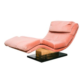 Pink Velvet and Brass Chaise Longue